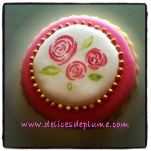 biscuit décoré roses