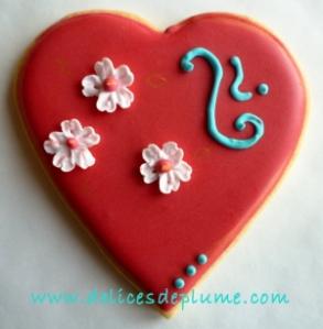 biscuit coeur rouge clair