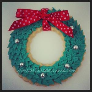 Sablé décoré couronne de Noël