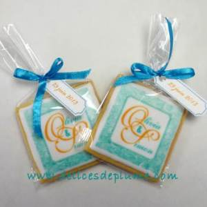 Biscuits de mariage turquoise et orange