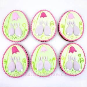 Biscuits décorés lapins de Pâques