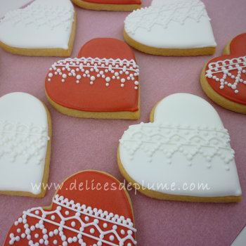 Biscuits coeurs dentelle