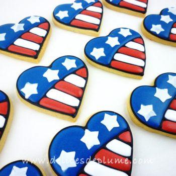 Biscuits coeurs drapeau US